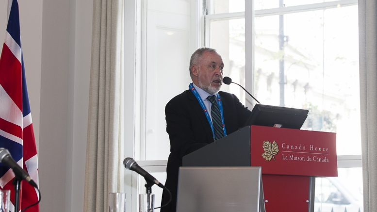 Marathon Gold president and CEO Phillip C. Walford speaking at the Northern Miner's Canadian Mining Symposium in London, U.K., in April 2018. Photo by Martina Lang.