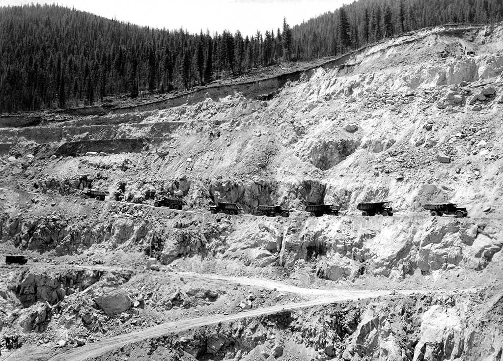 Trucks in the Yellow Pine mine in 1943, which produced antimony and tungsten. The same mine is now part of Midas Gold's Stibnite gold property in Idaho. Credit: Midas Gold.