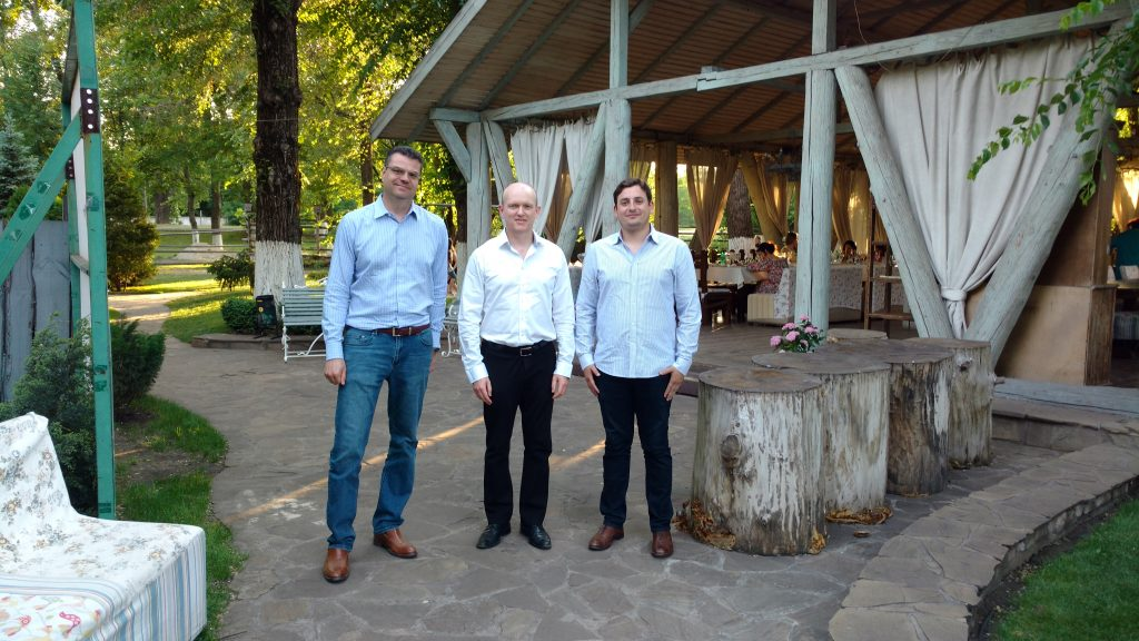 In Kryvyi Rih, Ukraine, from left: Matt Simpson, CEO of Black Iron; John Cumming, editor-in-chief of The Northern Miner; and Matt Geiger, fund manager and principal at MJG Capital.