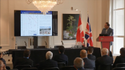 Vangold Mining president and chief executive officer Cameron King presents at the Canadian Mining Symposium in London on April 24, 2018.