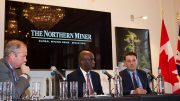 From left: Jeffrey Couch, managing director – head investment and corporate banking, Europe, BMO Capital Markets; Dean McPherson, head, business development – global mining, TMX Group; Shea Small, co-leader, global mining, McCarthy Tétrault. Photo by Martina Lang.