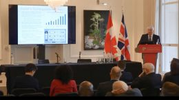 Fortune Minerals president and chief executive officer Robin Goad presents at the Canadian Mining Symposium in London on April 24, 2018.