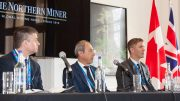 The Future Mining panel at the Canadian Mining Symposium in London on April 24, 2018. From left: Liam Fitzgerald, national mining leader, PwC; Georg Gradl, global head of mining, SAP; Stephen De Jong, chairman, Integra Resources. Photo by Martina Lang.