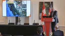GT Gold vice president exploration Charles Greig presents at the Canadian Mining Symposium in London on April 24, 2018.
