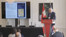 Nighthawk Gold president and chief executive officer Dr. Michael J. Byron presents at the Canadian Mining Symposium in London on April 25, 2018.