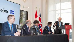 The Quebec Plan Nord panel at the Canadian Mining Symposium in London on April 24, 2018. From left: Guy Bourassa, president and chief executive officer, Nemaska Lithium; Robert Sauvé, chief executive officer, Société du Plan Nord; Darrin Wagner, president, Balmoral Resources; Pascal Hamelin, president and chief operating officer, Metanor Resources. Photo by Martina Lang.