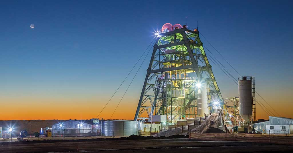 The headframe at Shaft 1 at Ivanhoe Mines' Platreef project. Credit: Ivanhoe Mines.