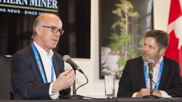At the Norther Miner's Canadian Mining Symposium in London in April 2018: Condor Gold chairman and CEO Mark Child (left) and Bill Whitelaw, president and CEO of JWN Energy. Credit: Martina Lang.