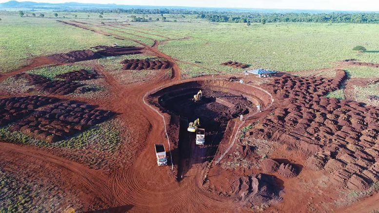Excavation at a trial mining site at Horizonte Minerals' Vermelho nickel-cobalt project in Brazil. Credit: Horizonte Minerals.