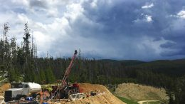 Drilling at Beartrack in May 2018. Credit: Revival Gold.
