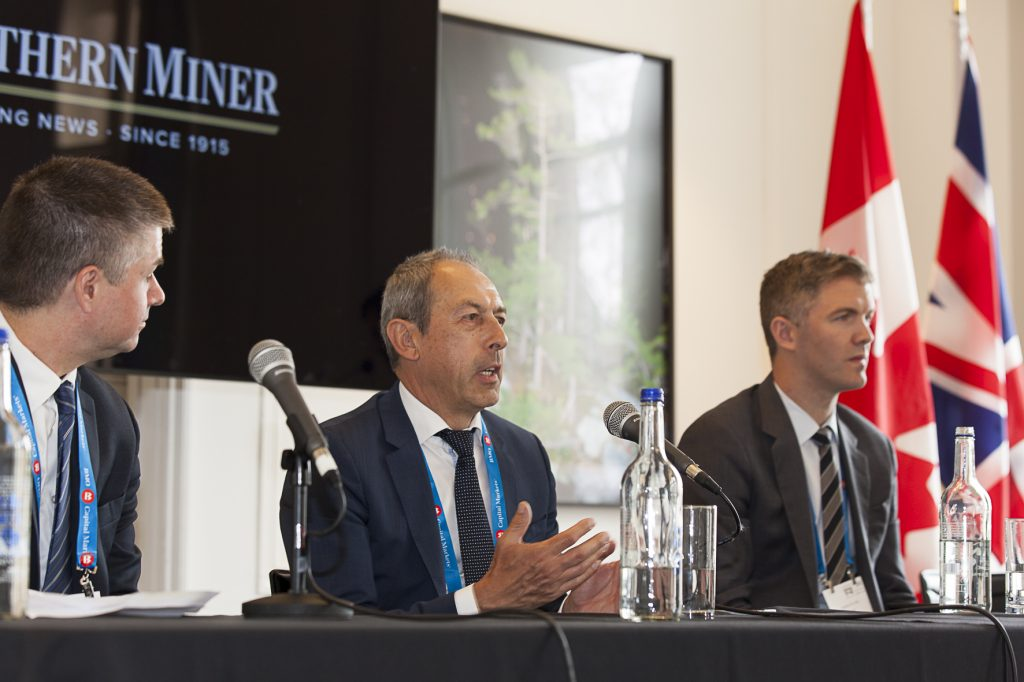 At The Northern Miner's Canadian Mining Symposium in London, U.K., in April 2108, from left: PwC national mining leader Liam Fitzgerald; SAP global head of mining Georg Grandl; and Integra Resources chairman and VRify CEO Stephen de Jong. Photo by Martina Lang.