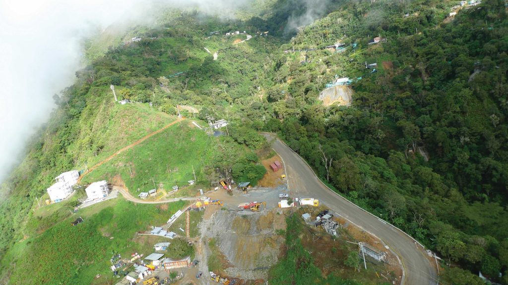 An aerial view of the Veta Sur tunnel under development at Continental Gold's Buritica gold project in Colombia. Photo by David Perri
