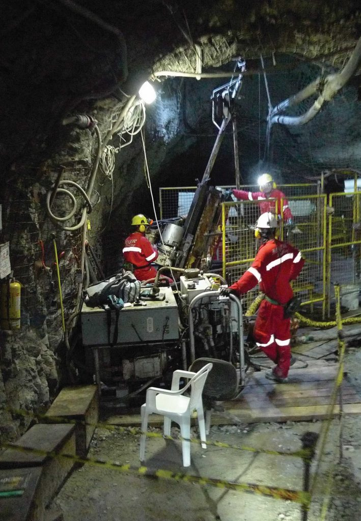 Workers in the Yaragua tunnel at Buritica. Photo by David Perri