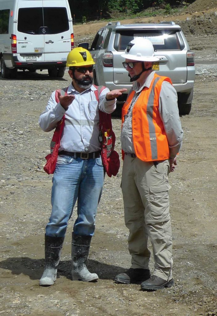Mauricio Castañeda (left), Continental Gold's VP of exploration, and David Reading, special advisor, at Buritica's infrastructure site under construction. Photo by David Perri