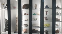 Various rocks and minerals are on display in the earth sciences department, in the basement of the Royal Ontario Museum. Photo by Richard Quarisa.
