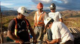 Condor staff surveys drill holes at La India in Nicaragua. Credit: Condor Gold.