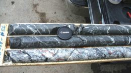 Drill core from discovery hole 18-1 from Sokoman Iron's Moosehead gold property in Newfoundland. The hole returned 45 grams gold per tonne over 11.9 metres. Red circles indicate visible gold. Credit: Sokoman Iron.