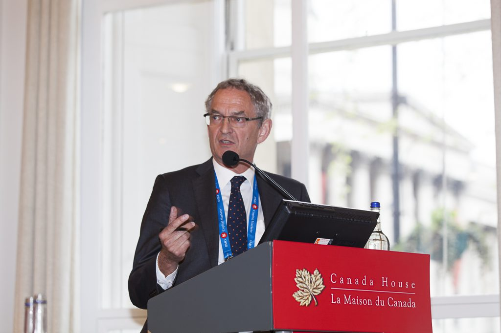 Chris Hinde, director of reports at SNL Metals & Mining, at The Northern Miner's Canadian Mining Symposium at Canada House in London, U.K., in April 2018. Photo by Martina Lang.