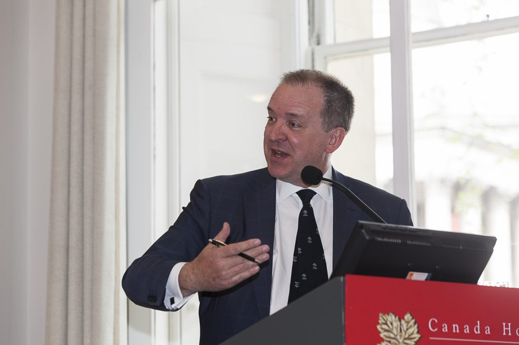 Andrew Cheatle, senior vice-president for Africa at Forbes & Manhattan Group, at The Northern Miner's Canadian Mining Symposium at Canada House in London, U.K., in April 2018. Photo by Martina Lang.