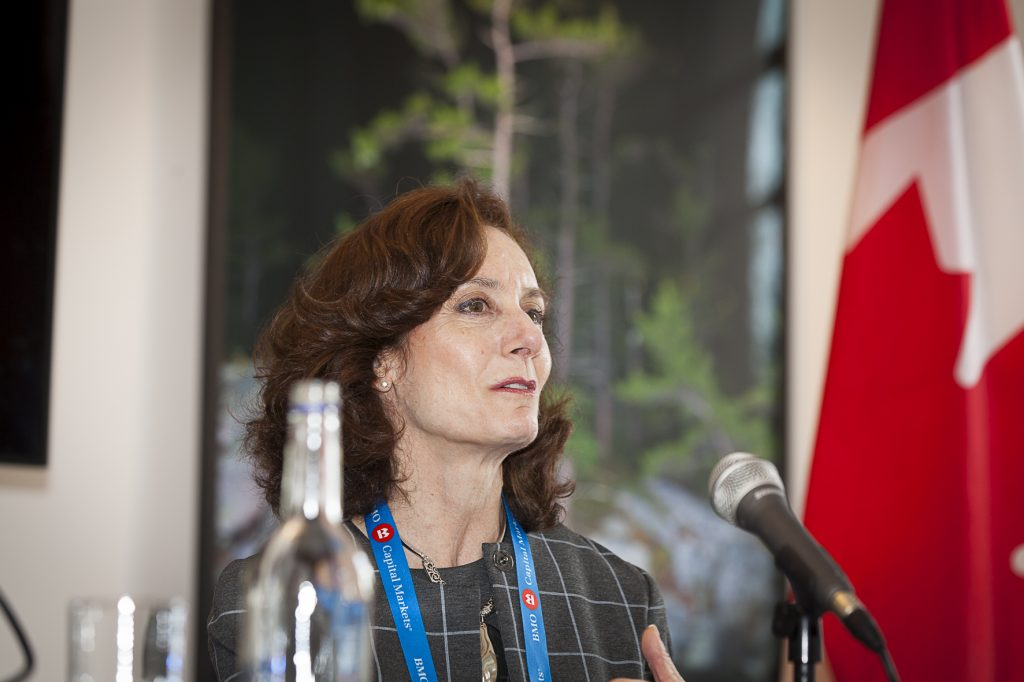 Lisa Davis, CEO of PearTree Securities at The Northern Miner's Canadian Mining Symposium at Canada House in London, U.K., in April 2018. Photo by Martina Lang.