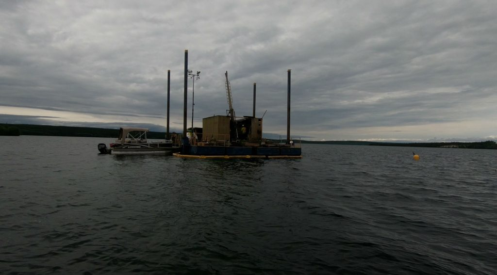 The barge where Fission is drilling this summer at PLS. Photo by Richard Quarisa.