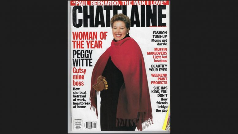 """Margaret Kent (""""Peggy Witte"""") on the cover of Canada's Chatelaine magazine as their """"Woman of the Year"""" for 1995."""