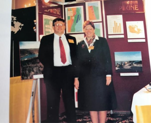 Business partners Ross Burns and Peggy Witte (now Margaret Kent) at their Neptune booth at the PDAC convention in Toronto in the 1980s. Credit: Margaret Kent archives.