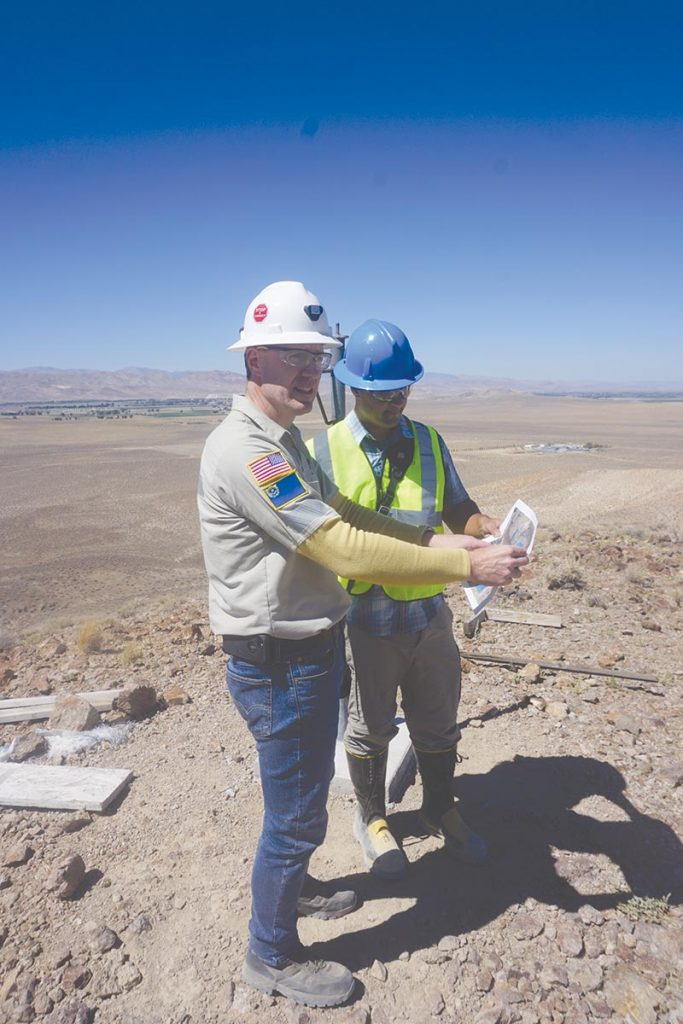 David Swisher, vice-president of operations, holds a map at Nevada Copper's Pumpkin Hollow copper project in Nevada. Photo by Frik Els.