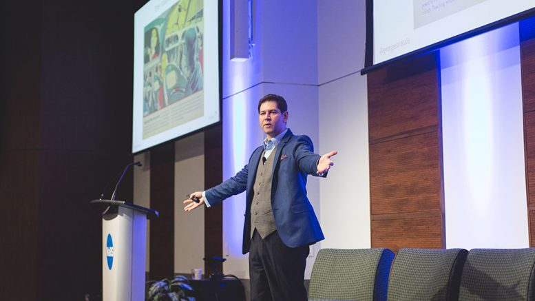 George Hemingway, Partner and Head of Innovation Practice at The Stratalis Group, speaks at the 2018 Progressive Mine Forum in Toronto. Credit: George Matthew Photography.