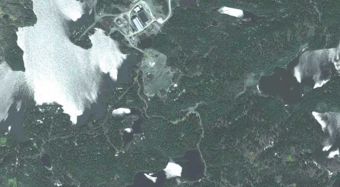 Satellite image from 2017 of the Nugget Pond gold mill facility owned by Rambler Mining and Metals. Credit: Google Maps.