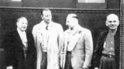 Joseph Hirshhorn (left), Paul Young, Hirshhorn's chief engineer and manager of the Pronto mine, Franc Joubin and William Bouck gathered at the train station in 1955 in Blind River, Ont., for the opening of Pronto.