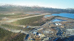 The permanent airstrip (upper left) and construction of the concentrator (far right) at the Voisey's Bay nickel project, south of Anaktalak Bay, Labrador. The operation belongs to Voisey's Bay Nickel Co., a wholly owned subsidiary of Inco.