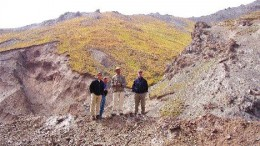 (From left) Brokers Scott Hunter and Thomas Seltzer, Majestic Geologist David Pollard, and Haywood Securities Analyst James Mustard discuss mineralization controls in Zone IV on the Sawayaerdun project in eastern China's Xingjiang Autonomous Region.