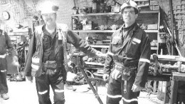 From left to right: Pierre Jeansomme, geological technician and Michel Lafleur, mine captain, underground in the machine shop at Wesdome's Kiena mine.