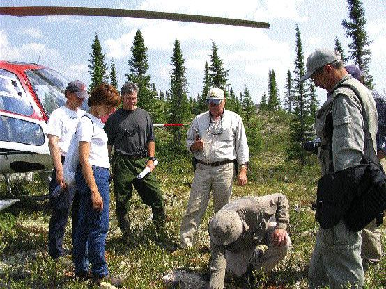 From left: Ashton Project Geologist Alan O'Conner (green pants) and Project Manager Robert Lucas (centre) look on as Pierre Bertrand, vice-president of exploration with Soquem, examines the ground at the Lynx South showing on Ashton's Foxtrot property in north-central Quebec.