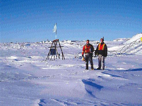 De Beers Canada health and safety personnel inspect the construction site at the proposed Snap Lake diamond mine, situated 220 km northeast of Yellowknife, N.W.T.