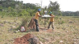 Auger drilling by Vaaldiam Resources at the newly discovered Clara pipe in the southern block of the Pimenta Buena property in Brazil's Rondonia state. The discovery is significant in that it is the first pipe on the property found by drilling an electromagnetic anomaly, rather than a more-typical magnetic anomaly.