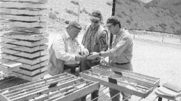 From left: Lumina Copper's Chilean General Manager John Selters, Vice-President of Exploration Leo Hathaway and Chairman Ross Beaty examine core at the Regalito copper project in northern Chile.