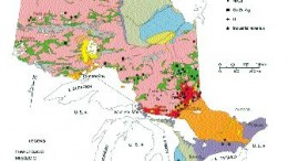 Geological map of Ontario, showing locations of the Swayze and Shining Tree greenstone belts.
