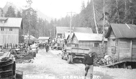 "A 1938 postcard from ""Rotten Row"" in Zeballos, B.C."