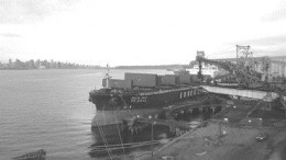 The first shipment of PCI coal from Pine Valley Mining's Willow Creek mine in northeastern British Columbia is loaded on to the Delta Pride, an ocean liner docked at Neptune Terminals in North Vancouver and bound for steel mills in Korea.
