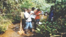 A field team from Mano River stands on the outcrop of the first known diamondiferous kimberlite pipe in Liberia, which was discovered in 2000.