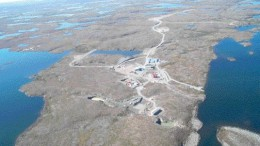 An aerial view looking west over De Beers' Snap Lake diamond project, 200 km northeast of Yellowknife, N.W.T.