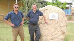 Kimberley Diamond Mine Manager Nick Algie (left) and Chairman Miles Kennedy stand beside one of the first pieces of diamondiferous lamproite ore mined from Pipe 9 at the Ellendale operation in Western Australia.