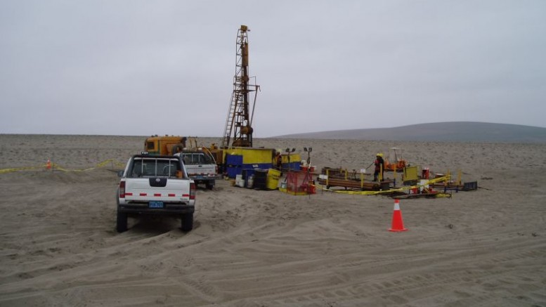 Cardero Resource drilling through sand and dune cover at its Pampa de Pongo iron project in southern Peru.