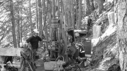 Contractor Mark Kapiniak drills the 1050 Zone, part of Bitterroot Exploration's Mineral Creek gold project on Vancouver Island.