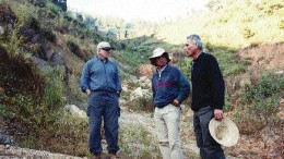 """Standing at the northeasternmost end of the 40-km-long Luxi gold belt, from left: Lee Barker, president and CEO of Sparton Resources; geologist Guojian Xu; and geologist Guy Della Valle. Says Della Valle of Yunnan province: """"Compared to Angola, working here is like being on holiday."""""""