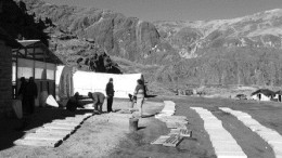 The base camp at the Corani silver-zinc project in Peru. Bear Creek Mining's geological team lays out drill core for evaluation.