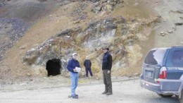 By Rob RobertsonMine workings near the northern end of the main zone at Bear Creek Mining's Corani silver-lead project in the Andes of southern Peru. From left: James Dartnell, mining analyst with Wolverton Securities, and David Volkert, Bear Creek Mining's vice-president of exploration. Newsletter writer David Coffin is in the background.