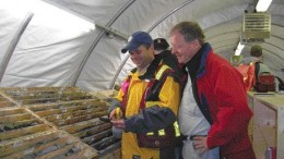 VIVIAN DANIELSONPacifica exploration manager John O'Donnell (left) and company president Harlan Meade examine core from the Selwyn lead-zinc project.